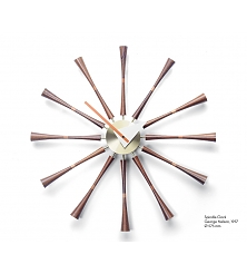 VITRA Spindle Clock aluminium, solid walnut