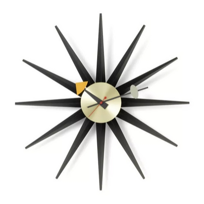 VITRA Sunburst Clock black/brass - Фото 1